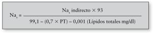 Fórmula para calcular la natremia corregida por lípidos y proteínas totales