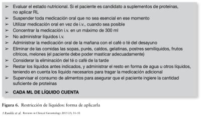 Recomendaciones para aplicar la restricción de liquidos